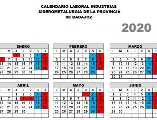 CALENDARIO LABORAL INDUSTRIA SIDEROMETALÚRGICA PARA 2020